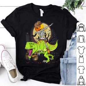 Original Dabbing Pumpkin Skeleton Riding T-rex Dinosaur Halloween shirt