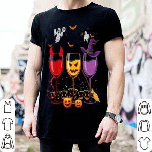 Premium Three Glasses Of Wines Funny Halloween Wine Lover shirt