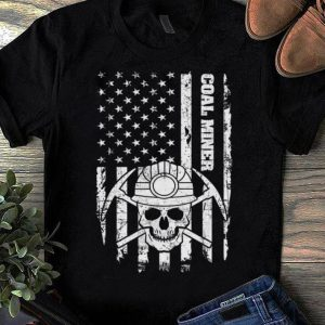 Top Coal Miner American Flag Skull shirt