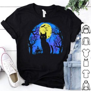 Top Cute Scary Black Cat At Night Halloween Bats shirt