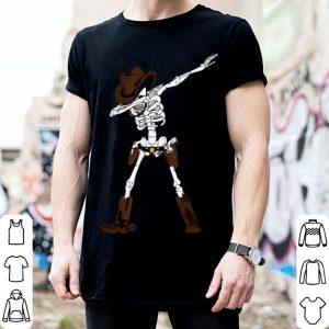 Top Halloween Dabbing Skull Cowboy Hat Dab Dance Giftn shirt