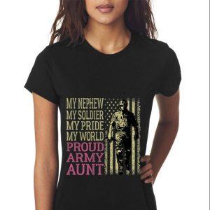 Top My Nephew My Soldier Hero Military Proud Army Aunt American Flag guy tee 2