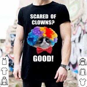 Beautiful Grumpy Cat Halloween Scared Of Clowns Good Graphic shirt