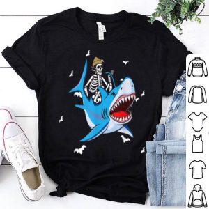 Beautiful Skeleton Riding Shark Funny Halloween Design shirt