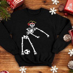 Hot Pirate Skeleton Soccer Halloween Flossing Dance Kids shirt