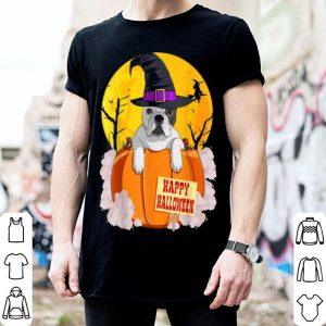 Official Happy Halloween French Bulldog Pumpkin Witch shirt