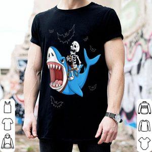 Original Skeleton Riding Shark Funny Halloween Gift shirt