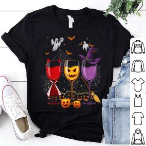 Three Glasses Of Wines Funny Halloween Wine Lover shirt