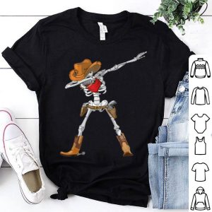 Awesome Dabbing Skeleton Cowboy Hat Halloween Kids Boys Dab shirt