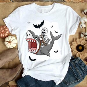 Beautiful Skeleton Riding Shark Funny Halloween Boys Girls Kids shirt