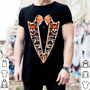 Beautiful Tuxedo- Skull black- Halloween faux Tux Bowtie Tee shirt