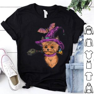 Beautiful Yorkie Witch with Broom Dog Owners Halloween gifts shirt