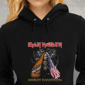 Hot Iron Maiden Harley Davidson Skull American Flag shirt