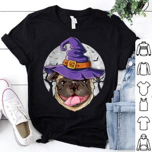 Official Pug Witch Hat Funny Halloween Gifts Dog Lover Girls Women shirt