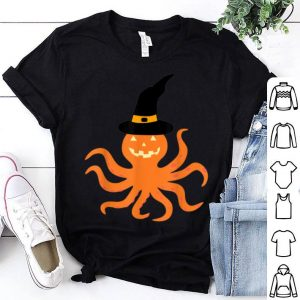 Official Pumpkin Octopus with Witch Hat Halloween shirt