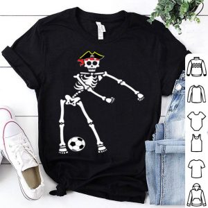Premium Pirate Skeleton Soccer Halloween Flossing Dance Kids shirt