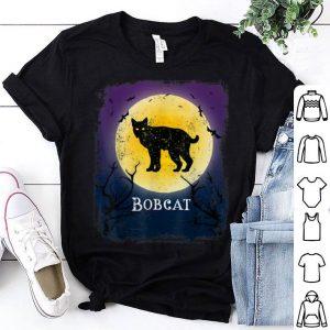 Top Bobcat Lynx Halloween Vintage Moon Bats Tee shirt