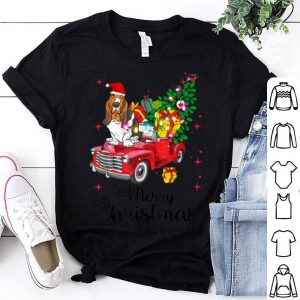 Awesome Basset Hound Ride Red Truck Christmas Pajama shirt