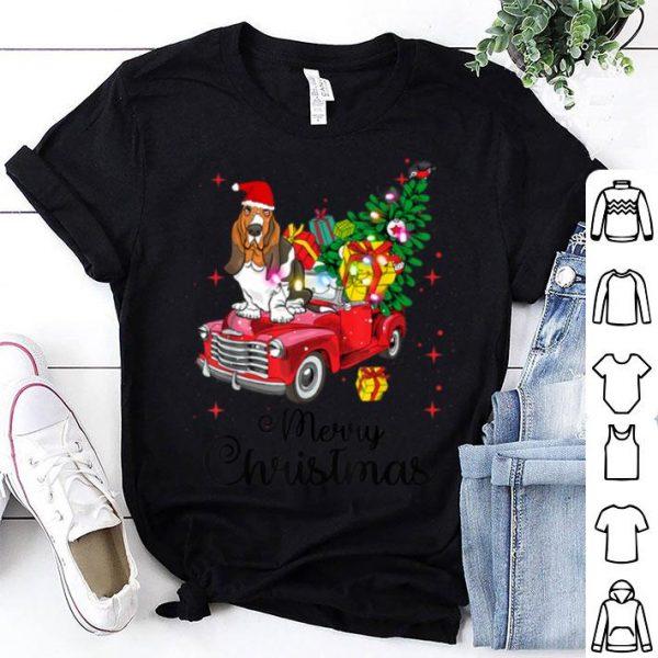 Awesome Basset Hound Ride Red Truck Christmas Pajama shirt