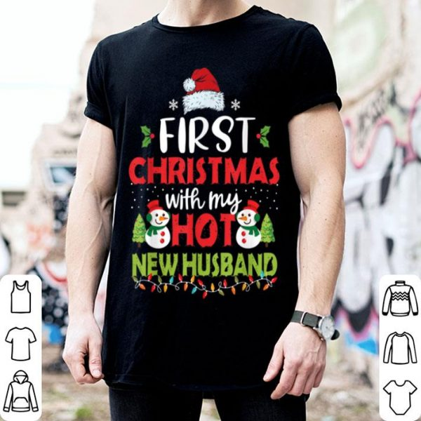 Awesome First Christmas With My Hot New Husband Funny Couple Gifts shirt