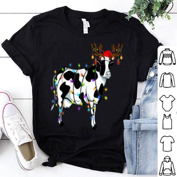 Awesome Funny Cow Christmas Tee Reindeer Christmas Lights Pajama shirt