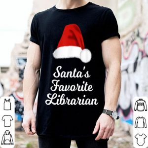Awesome Santa's Favorite Librarian Christmas Santa Hat shirt