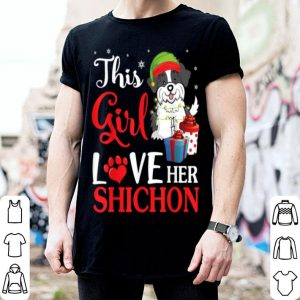Awesome Snow And Xmas Gifts This Girl Love Her Shichon ELF Costume shirt