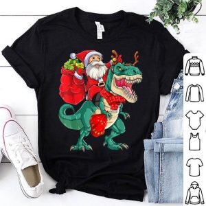Beautiful Dinosaur Christmas For Boys Kids Santa Riding T-rex shirt