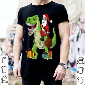 Beautiful Funny Christmas For Boys Kids Santa Dinosaur T Rex shirt