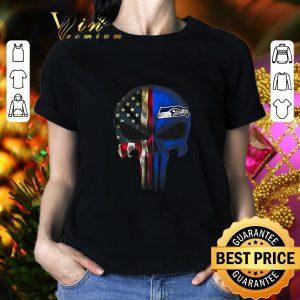 Cheap Punisher Skull American flag Seattle Seahawks shirt