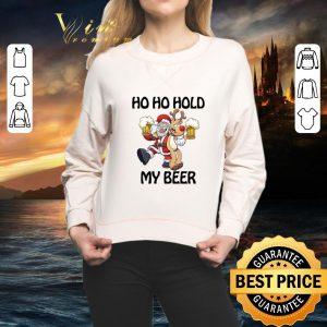 Funny Santa Claus Ho Ho Hold My Beer Reindeer Christmas shirt