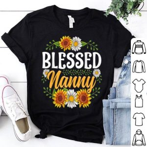 Hot Blessed Nanny Thanksgiving Christmas Cute Gift Floral shirt
