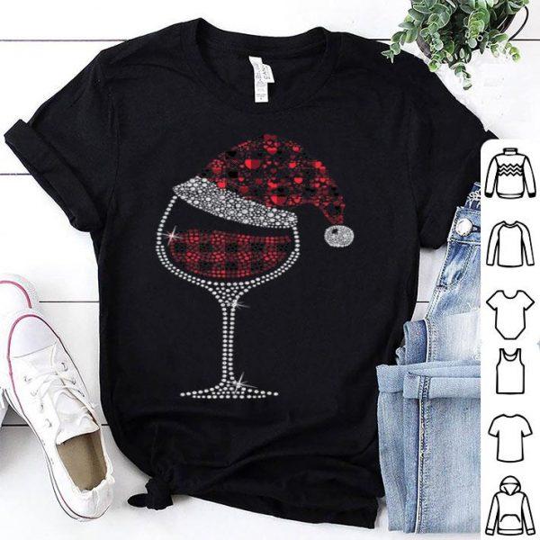 Hot Glass of Red Wine Santa Hat Christmas Xmas Pajama Red Plaid shirt