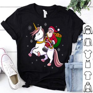 Hot Santa Riding Unicorn Cute Girls Christmas Gift shirt
