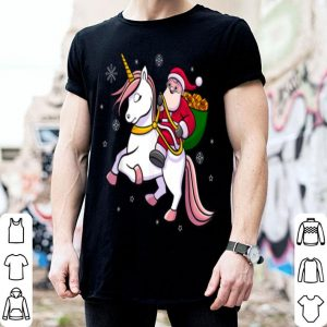 Hot Santa Riding Unicorn Cute Girls Christmas Gift shirt