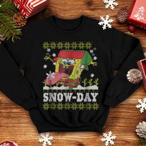 Hot SpongeBob Ugly Christmas Sweater Snow-Day T- shirt