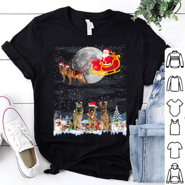 Nice German Shepherd Reindeer Christmas Lights Dog Riding a Santa shirt
