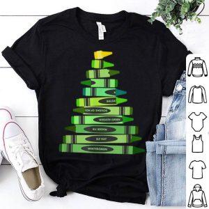 Nice Teacher Christmas Gift Crayon Tree shirt