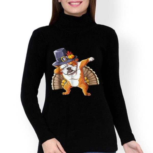 Nice Thanksgiving Dabbing English Bulldog Turkey Pilgrim shirt