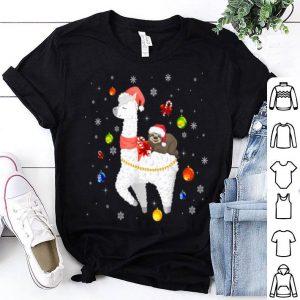 Official Sloth Riding Llama Funny Christmas Scarf Santa Hat shirt