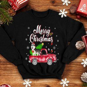 Original Husky Retriever Rides Red Truck Christmas Pajama sweater