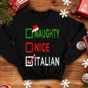 Original Naughty nice Italian Funny Christmas Santa Gift Xmas Ugly shirt