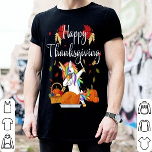 Premium Dabbing Unicorn Dog Eating Turkey Happy Thanksgiving Day shirt