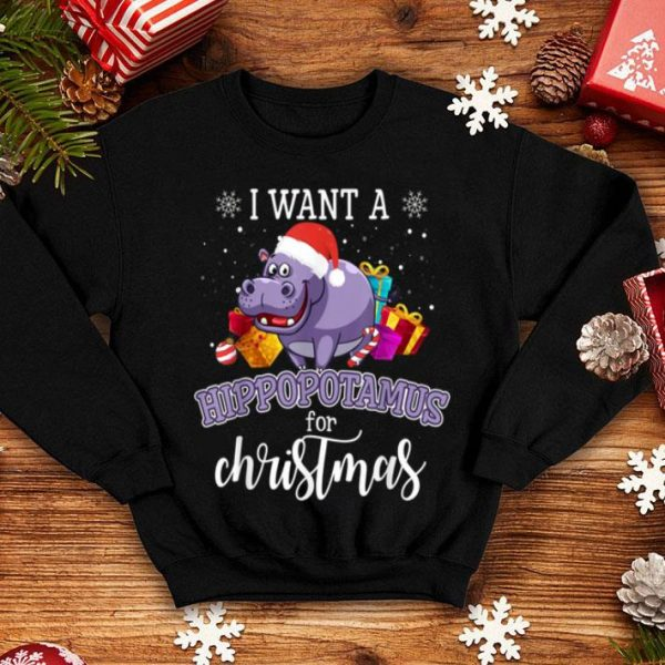 Premium I Want A Hippopotamus For Christmas Hippo Gift Xmas Pajama shirt