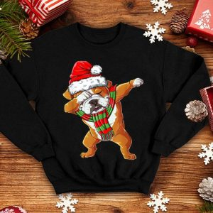 Pretty Dabbing English Bulldog Santa Christmas Gifts Kids Boys Xmas shirt