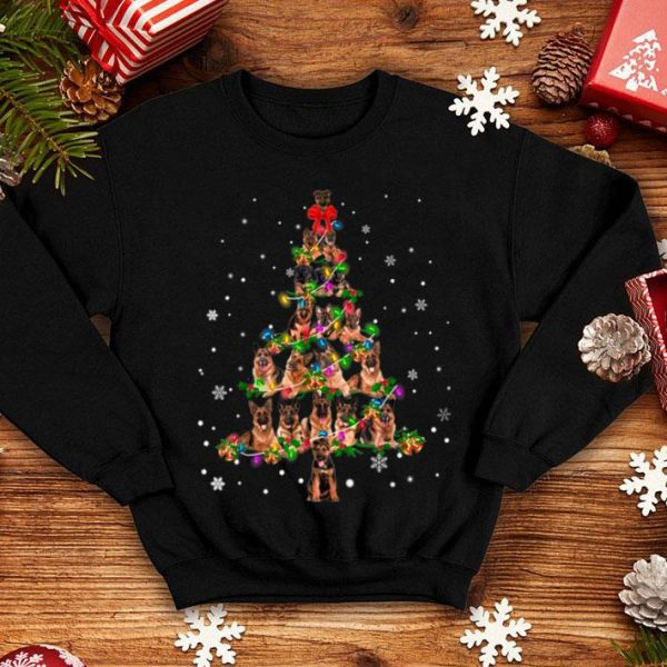 Top Cute German Shepherd dog Christmas Tree gift decor Xmas tree shirt