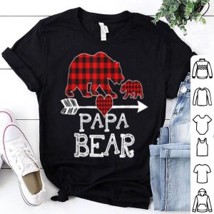 Top Red Plaid Papa Bear One Cub Matching Buffalo Pajama Xmas shirt