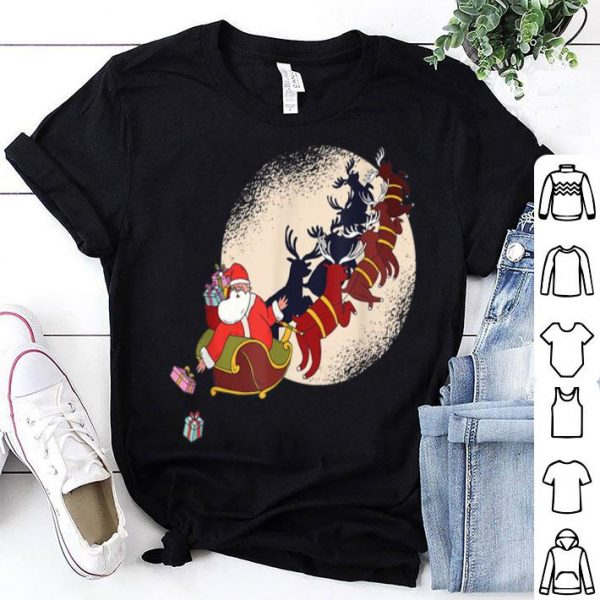 Top Santa Riding Reindeers Funny Christmas Xmas Matching Family shirt