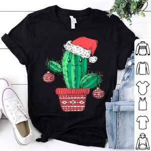 Top Santa's Hat Cactus Sweater Tee Christmas Party Xmas Holidays shirt