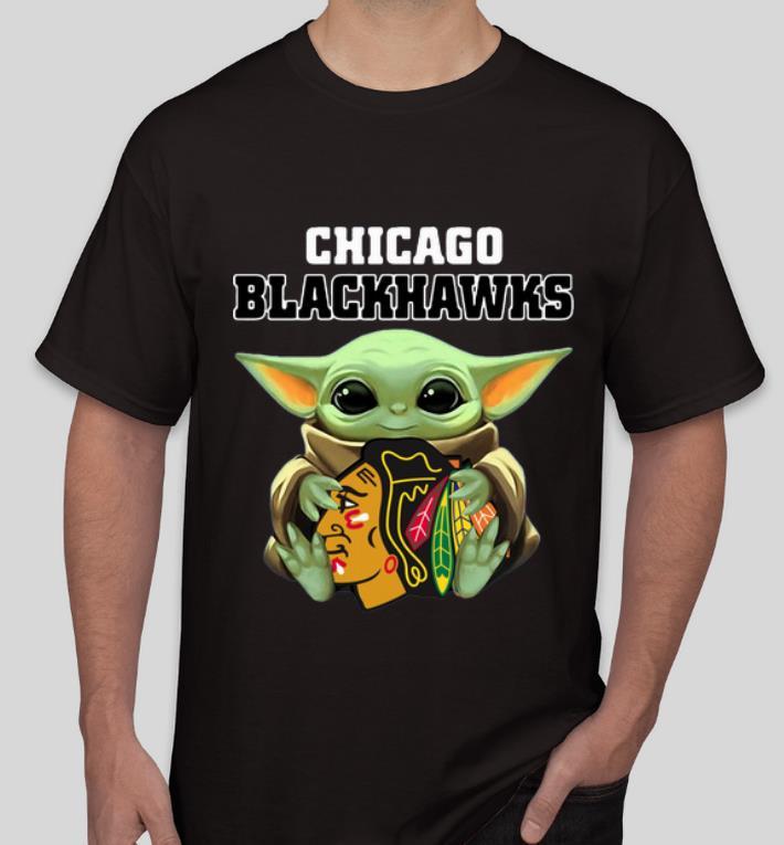 Awesome Star Wars Baby Yoda Hug Chicago Blackhawks shirt 4 - Awesome Star Wars Baby Yoda Hug Chicago Blackhawks shirt